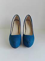 Женские синие туфли на высоком каблуке 36 размера