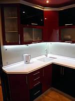 Кухня на заказ МДФ Угловая Глянец Вишня+Чёрный