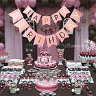 Гирлянда-растяжка флажки Happy Birthday розовая, фото 2