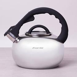 Чайник Kamille 2.8 л з нержавіючої сталі зі свистком і скляною кришкою (для всіх видів плит)