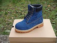 Зимние ботинки Timberland Blue с мехом (тимберленд)