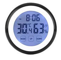Термометр, гігрометр з годинником підсвічуванням і магнітами на холодильник з сенсорними кнопками THWL01 SKU0000933, фото 1