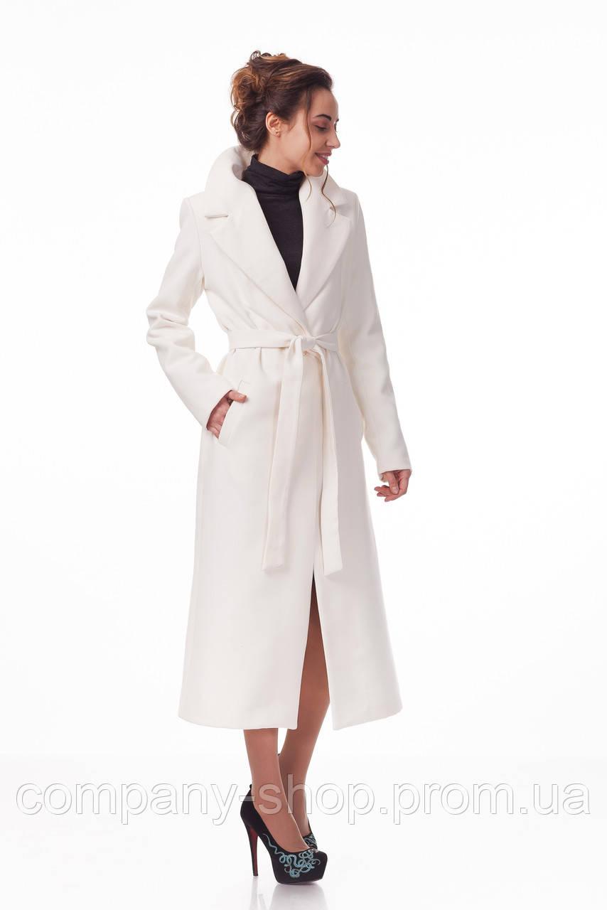 Пальто кашемировое на подкладке оптом. Модель ПЛ003_белый.