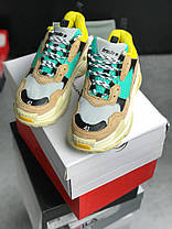 Мужские кроссовки Balenciaga Triple S Beige/Green/Yellow 483513-W06E3-7070, Баленсиага Трипл С, фото 2