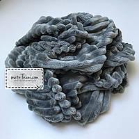 Minky Stripes плюш средне-серого цвета 100*80 №с-10, фото 1