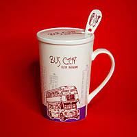 Чашка с крышкой и ложкой Bus city