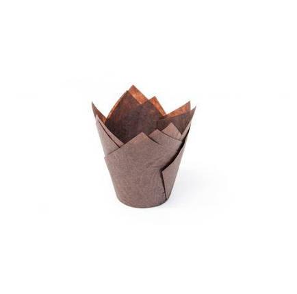 Форма Тюльпан коричнева для маффінів та капкейків 150 * 150 D 50 Ecopack, фото 2