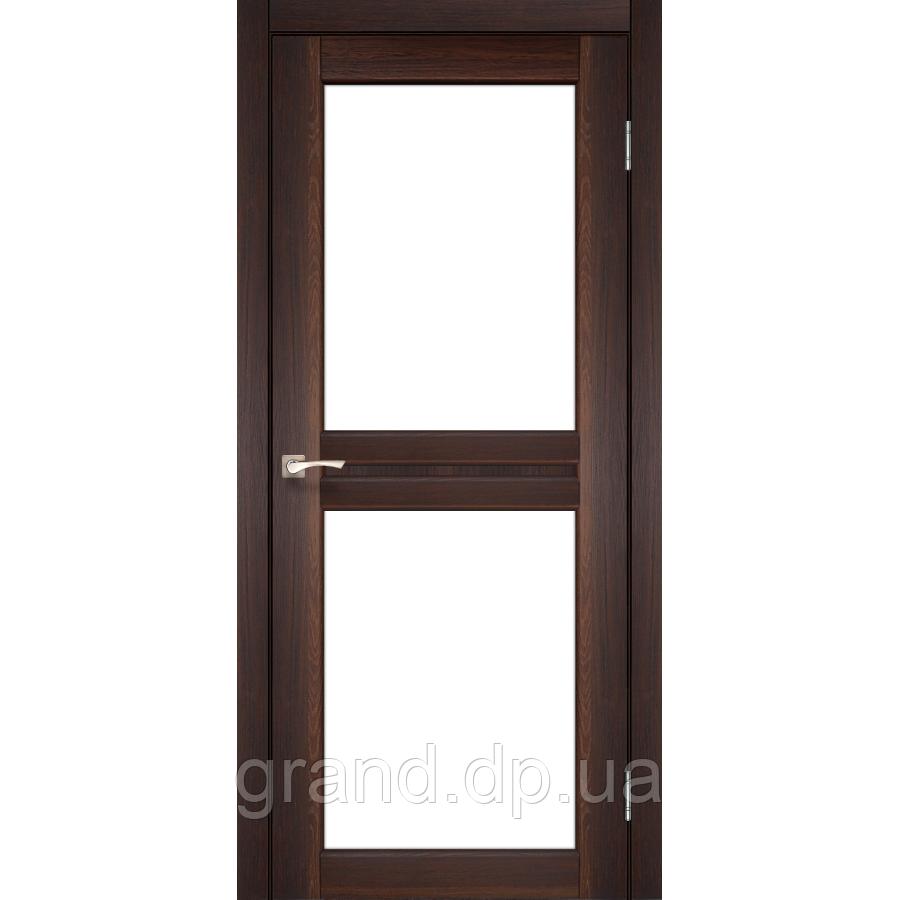 Двери межкомнатные Корфад MILANO Модель: ML - 07 орех c матовым стеклом