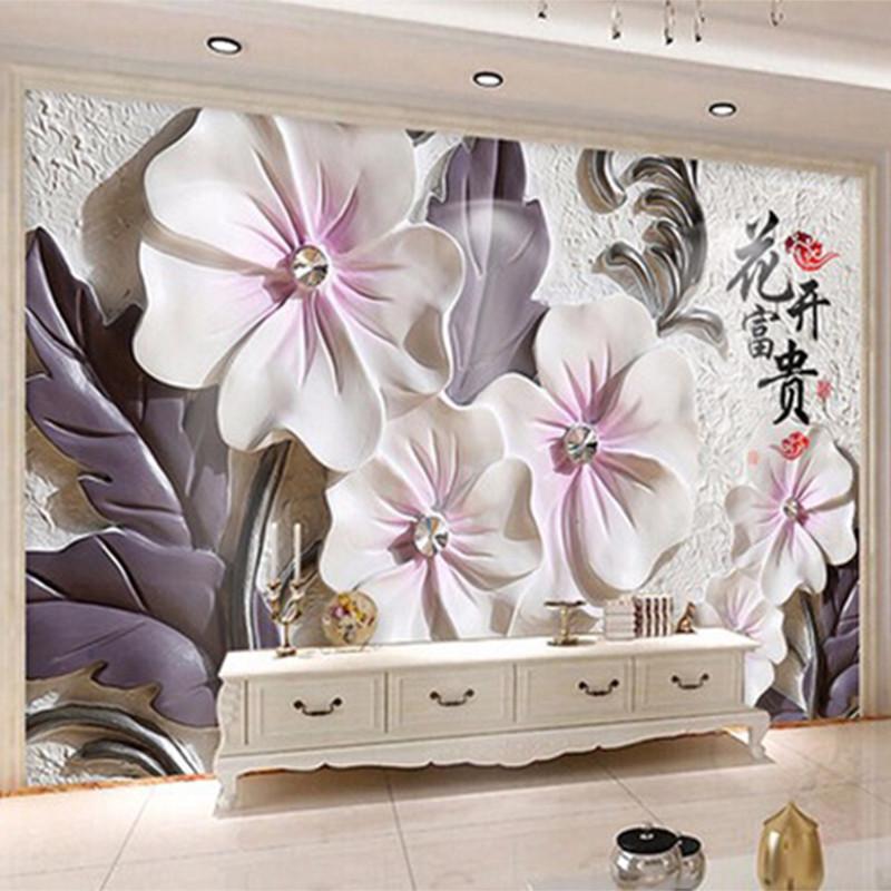"""3D фотообои """"Цветы с фиолетовыми лепестками"""""""