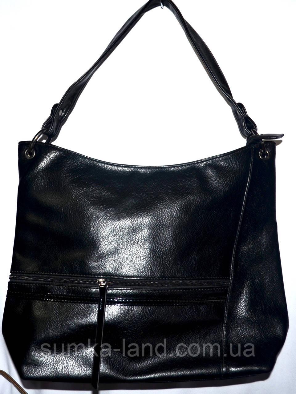 Женская черная сумочка в масле на плечо 34*34