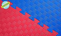 Мат татами 100*100*4 см Eva-Line Extra Quality синий/красный Плетёнка 100 кг/м3 (будо-мат, даянг)