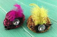Заколка для волос шляпка с пером
