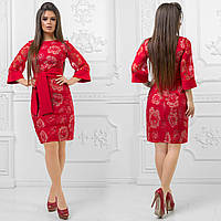 "Нарядное комбинированное платье-футляр ""Rosion"" с широкими рукавами (4 цвета)"