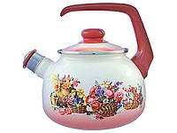 """Чайник эмалированный со свистком 2,5 литра """"Корзина цветов"""" METROT"""