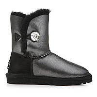 Натуральные угги UGG Australia (Угги Оригинал) Bailey Button Bling Black glitter с пропиткой. Model: 5803