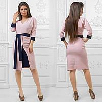 """Офисное платье-футляр """"Rikol"""" с контрастным поясом и манжетами (3 цвета)"""