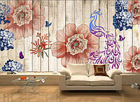 """3D фотообои """"Цветы на деревянной стене"""""""