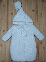 Конверт - кокон  зимний на выписку для прогулок для коляски зима для новорожденных, на овчинке