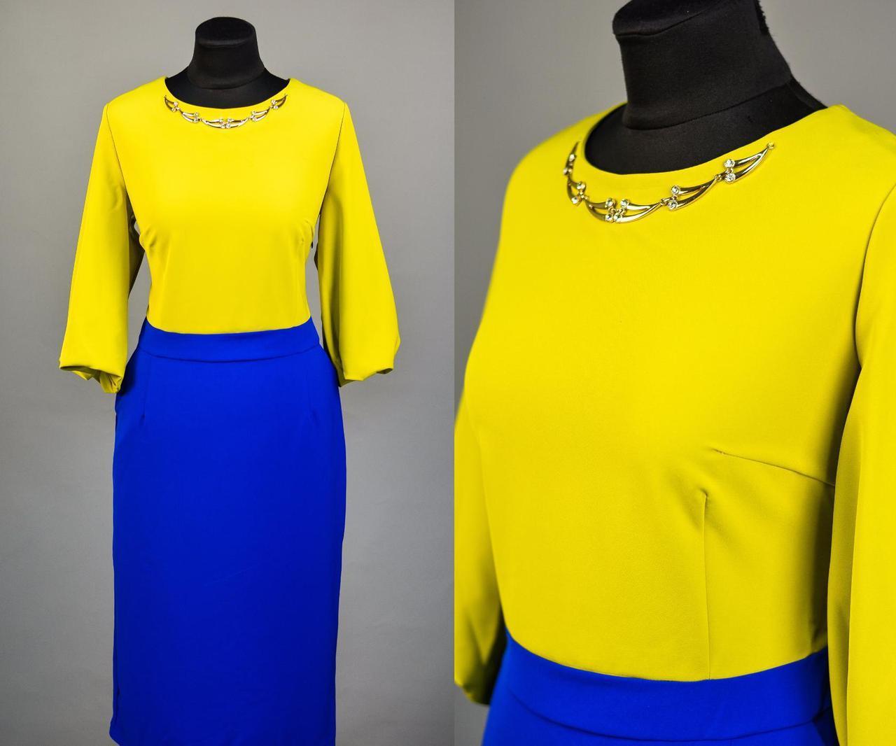 """Изумительное женское платье с рукавами фонариками ткань """"Хлопок+Стрейч"""" 50 размер батал"""
