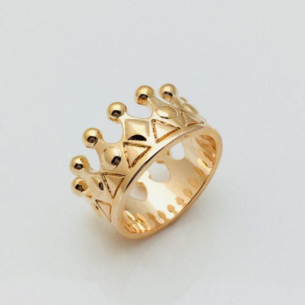 Кольцо коронка Валенсия, размер 18, 19, 20 позолота 18К Fallon