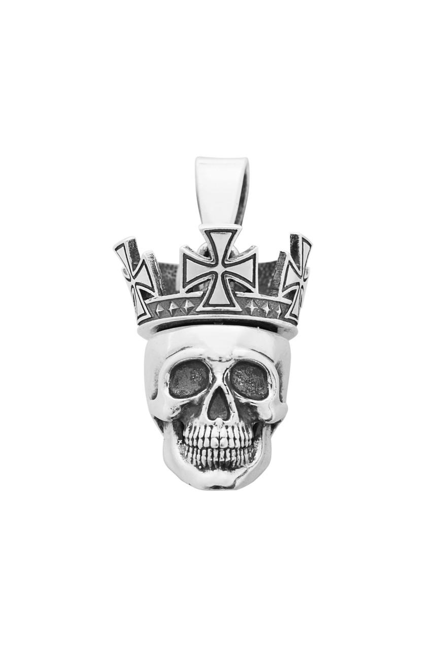 """Срібна підвіска """"Коронований череп"""" з тайником"""