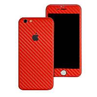 Красный Карбон на iPhone 6 Plus и 6s Plus Виниловые Декоративные Наклейки Скин Защитная Пленка Винил Стикер