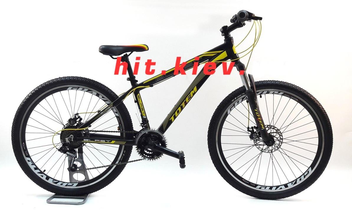 """Горный велосипед TOTEM BLAST 26"""" 17""""  Черный/Желтый"""