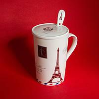 Чашка с крышкой и ложкой Эйфелева башня