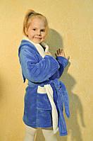 Красивый детский халатик с ушками зайка синего цвета