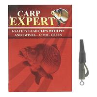 Безопасная клипса с вертлюгом Carp Expert 32mm зелёная 6шт