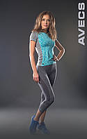 Копия Бриджи женские для фитнеса Avecs 30170 серый анатомический крой  Avecs бриджи женские размер