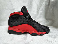 Баскетбольные кроссовки Air Jordan 13 Retro серые c красным