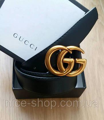 Ремень Gucci кожаный 3,3 см черный в коробке, фото 3