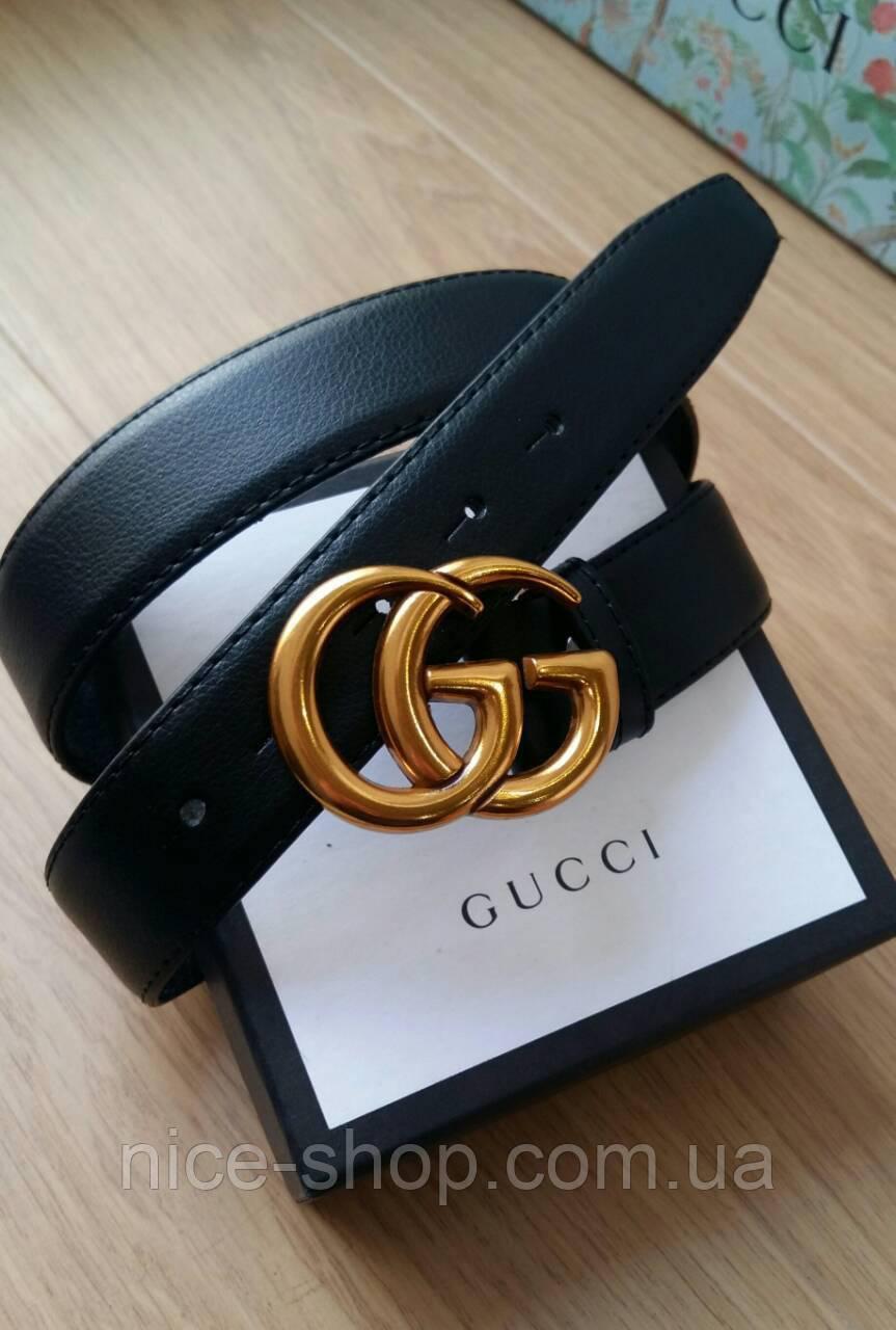 Ремень Gucci кожаный 3,3 см черный в коробке