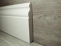 Плинтус высокий напольный МДФ Белый под покраску, Италия 14,2х100х2400мм