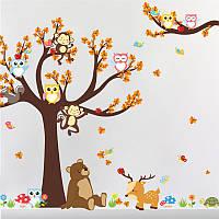 """Наклейка двойный эффект """"Совы, обезьянки, птички и белочки на дереве"""", 100х100 см., 98х92 см."""