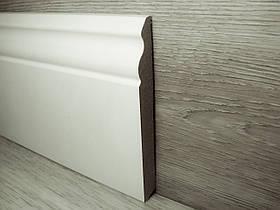 Плінтус для підлоги МДФ білий широкий фарбування, Італія 14,2х120х2400мм