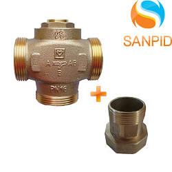 """Клапан трехходовой HERZ Teplomix DN25 1"""" 61°C (1776603) + комплект накидных гайок 1x11/4"""" (3шт.)"""