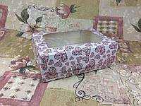 Коробка Печать Сердца  для 6-ти кексов 250*170*90 (с окошком), фото 1