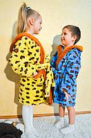 Красивый детский махровый халат с леопардовым принтом