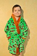 Модный детский махровый халат с леопардовым принтом
