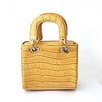 Желтая лаковая сумка, сумка крос-боди, клатч, рыжая, песочная
