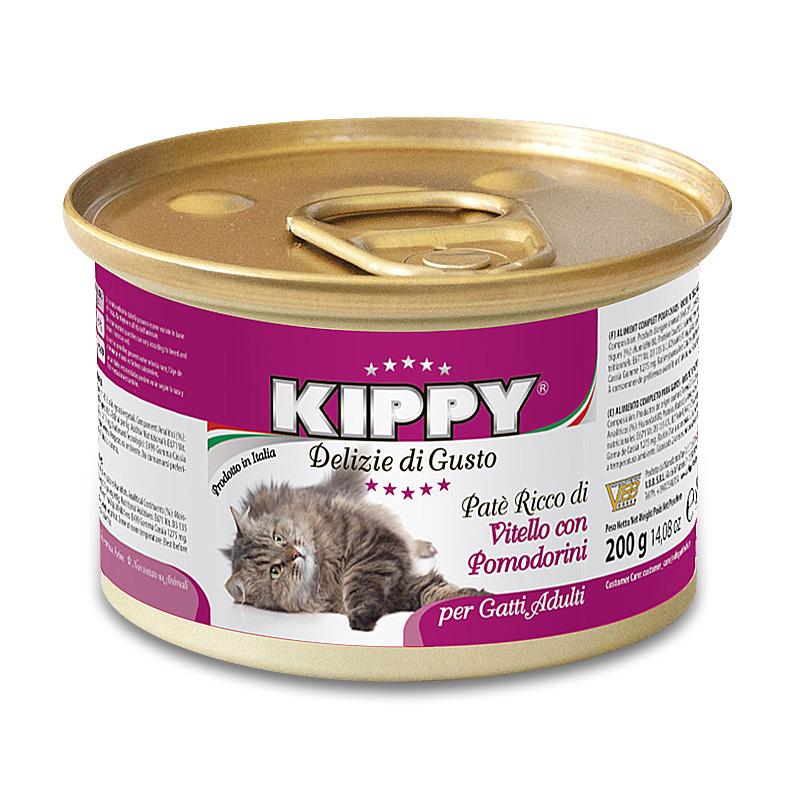 Консервы (Киппи) KIPPY Cat ТЕЛЯТИНА и ТОМАТЫ 200г - паштет для кошек