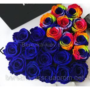 Стабилизированная роза в коробке Сердце (21шт.)