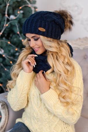 Комплект «Франсуа» (шапка и шарф-хомут) 4361-7 джинсовый