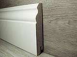 Плінтус підлоговий білий МДФ високий фігурний 18х100х2400мм, ламінована, фото 2
