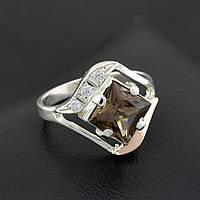 Серебряное кольцо с золотой пластиной, размер 19, коричневый фианит, серебро 4.06 г, золото 0.04 г
