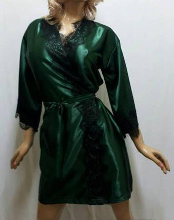 Женский короткий атласный халат с красивым французским кружевом , 42-46 р-р, Харьков изумрудный, фото 2