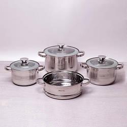 Набор посуды Kamille из нержавеющей стали: кастрюли (2.9л, 3.9л, 6.5л), пароварка (24см)