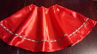 Украинская юбка красная полусолнце на резинке 110-128 размер